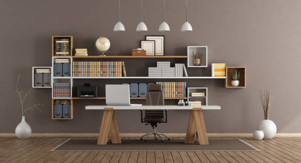 Modern office with wooden furniture stock photo