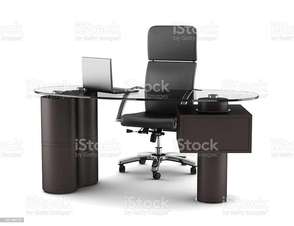 modern office workplace isolated on white background stock photo
