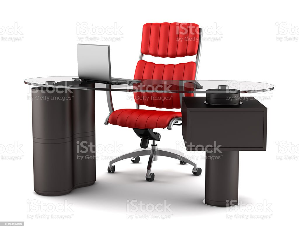 modern office workplace isolated on white background royalty-free stock photo