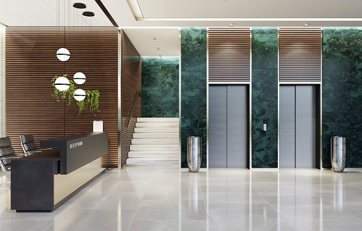 Modern and luxurious Offices lobby interior area with elevators and stairs. Long reception desk. green marble wall tiles decoration. 3d rendering
