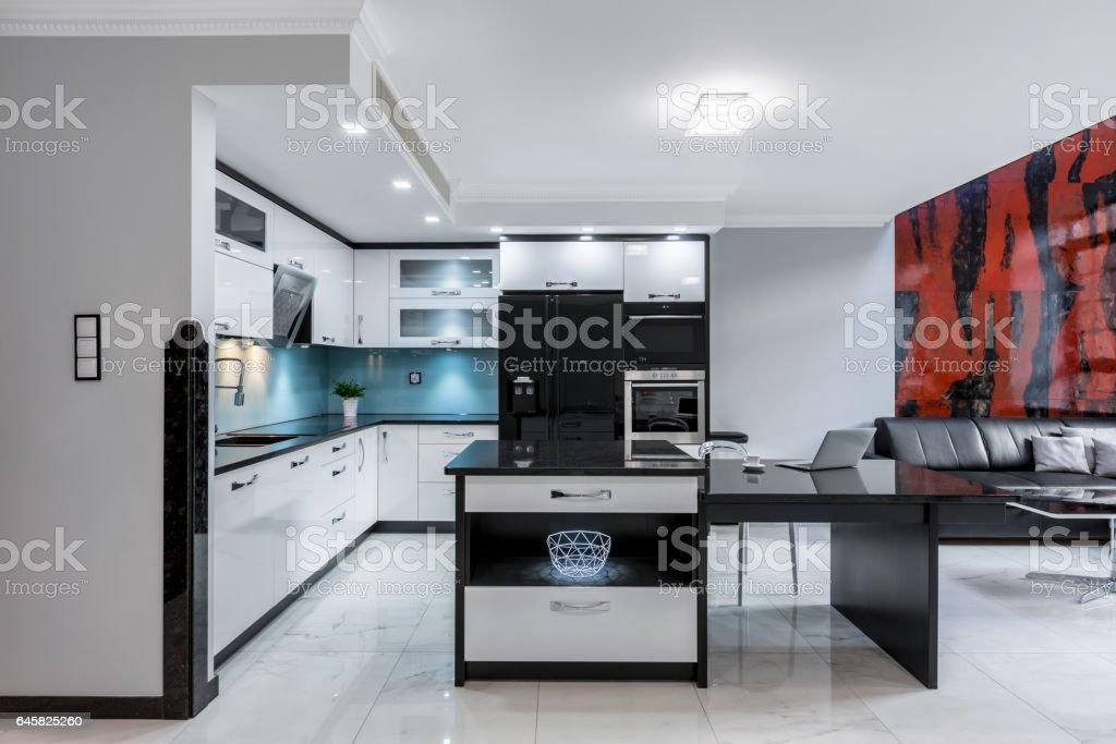 Modern open kitchen space stock photo