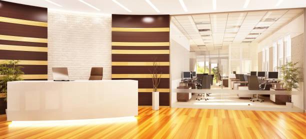 modernes, offenes büro mit rezeption und glasscheibe - decke gebäudeteil stock-fotos und bilder