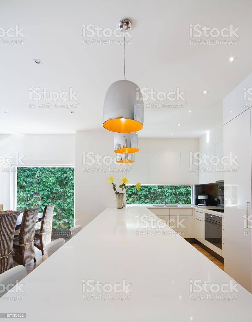 Modern open plan Australian kitchen and dining renovation stock photo
