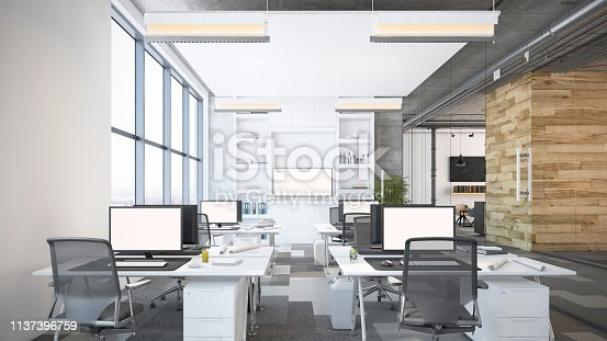 Modern open plan office interior. Office desks with computers, office chairs, electric lamps and digital equipment. Template for copy space. Render.
