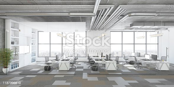 Modern open plan office interior with office desks and computers. Window, concrete ceiling, pendant lamps, plant and corridor. Template for copy space. Render.