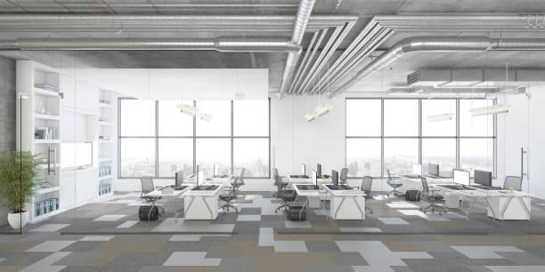 modern open plan kantoor interieur - groothoek stockfoto's en -beelden