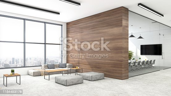 Modern open plan office interior with lobby. Conference room, wooden wall, sofa, coffee table, pillow, window, chairs, TV screen, pendant lamps, corridor, ceiling and plant. Template for copy space. Render.