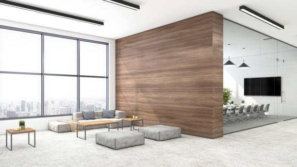 modern open plan office interior - modern office foto e immagini stock