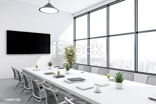 Modern open plan office interior. Conference room, cabinet, table, chairs, wooden wall, TV screen, pendant lamps, window, digital equipment, concrete floor and plant. Template for copy space. Render.