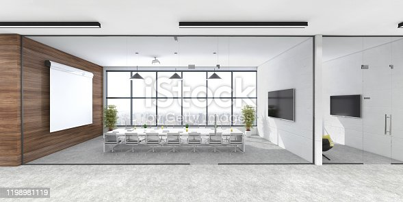 Modern open plan office interior. Conference room, window, TV screen, projection screen, pendant lamps, plant, cabinet, corridor and concrete floor. Template for copy space. Render.