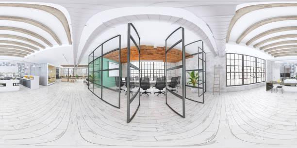 interior moderno de oficina de planta abierta - 360 fotografías e imágenes de stock