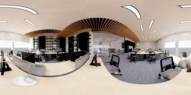 moderno interior de oficina de planta abierta - 360 fotografías e imágenes de stock