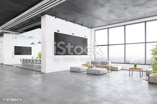 Modern open plan office interior with waiting room and conference room. Big blackboard with sofa and coffee tables, poufs, plants and concrete floor. Windows, office chairs and table with TV screen and projector. Template for copy space. Render.