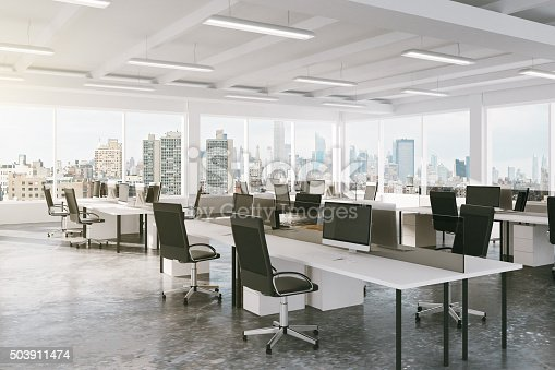 istock Modern open space office with city view 503911474