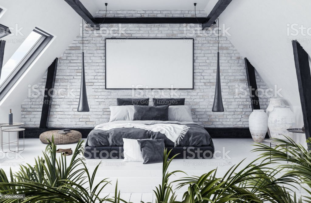 Modern Open Plan Apartment In Attic, Loft Style Royalty Free Stock Photo