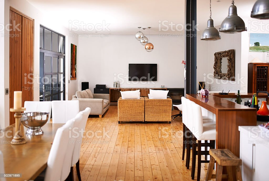 Modern open-plan living stock photo