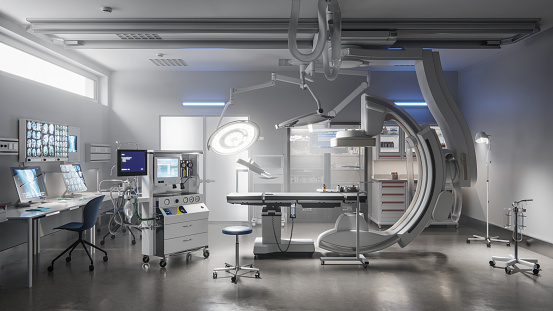 Digital image of the interior of a surgery room in a hospital without any people