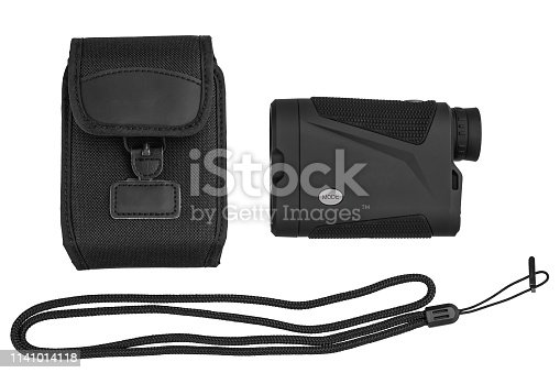 Modern optical range finder isolated on white background. Isolated black plastic rangefinder used for golfing or hunting.