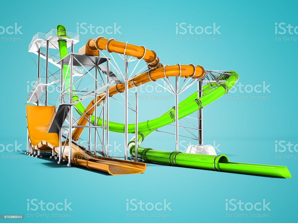 Modern Orange And Green Water Slides Amusement For The Water Park 3d Render  On Blue Background With Shadow Stock Photo - Download Image Now