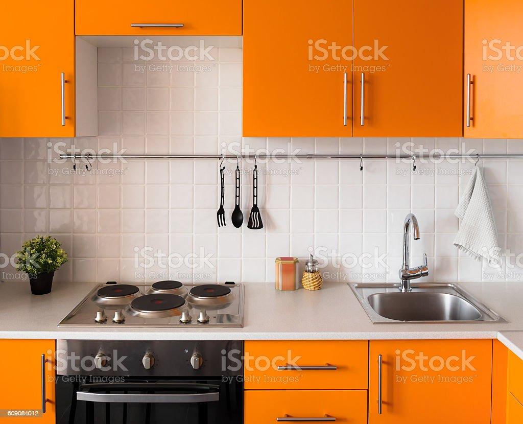 Modern orange kitchen stock photo
