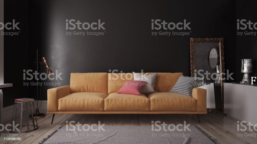 Modern Orange Sofa Bed In Dark Interior Stock Photo - Download Image Now