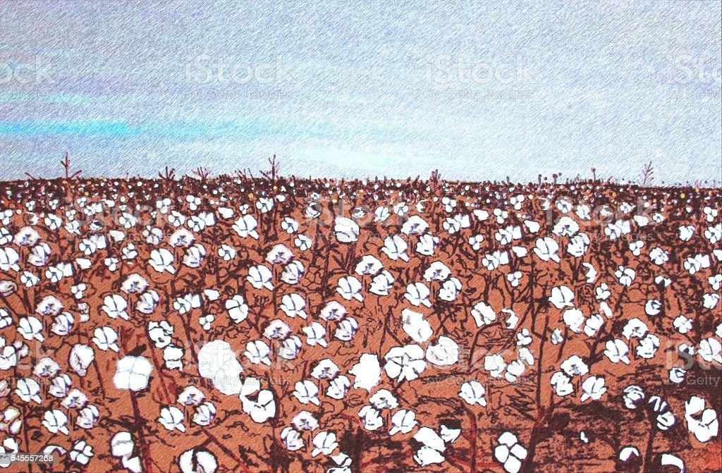 Modern painting 'Coton Plantation'. stock photo