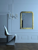 Stylish, almost abstract, modern interior in a classical Parisian apartment in Haussman style.