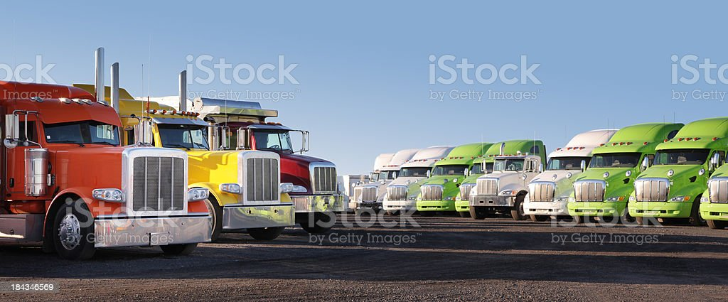 Modern Parked Truck Fleet stock photo