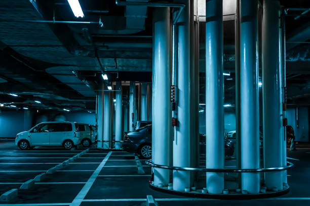 Modern parking Modern parking. Shooting Location: Sendai, Miyagi Prefecture 恐怖 stock pictures, royalty-free photos & images
