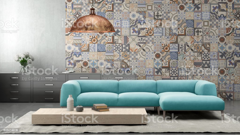 Atelier, Boden, Designer Einrichtung, Fliesenboden, Hausdekor. Moderne  Pastell ...