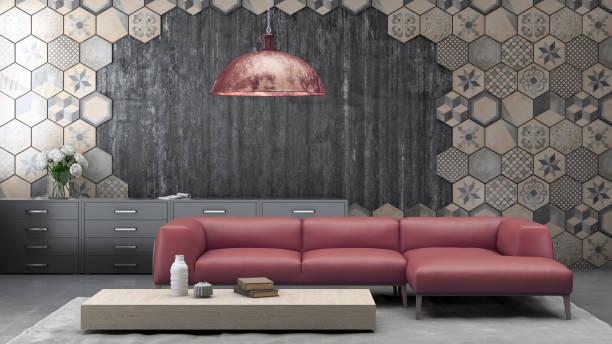 moderne pastell farbigen sofa vor einer leeren wand - raum kopiervorlage - target raumgestaltung stock-fotos und bilder