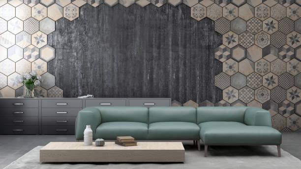 moderne pastell farbigen sofa vor einer gefliesten leere wand - raum kopiervorlage - target raumgestaltung stock-fotos und bilder