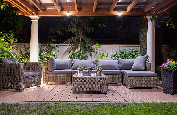 Modern patio at night stock photo