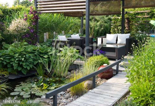 A modern furnished patio and pergola with a small pond, water lilys, hostas and Clematis