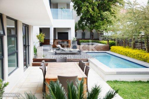 istock Modern patio next to swimming pool 109350277