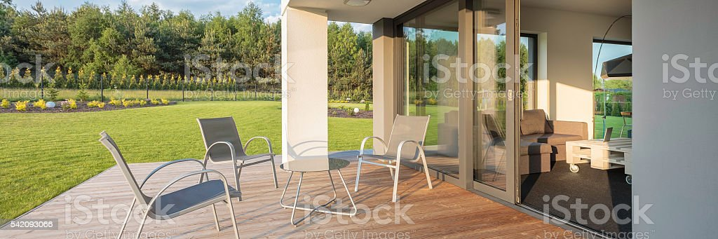 Modern patio with garden view stock photo