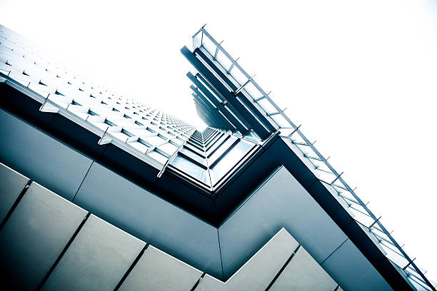 modern pattern and textures in london financial district - shard london bridge stockfoto's en -beelden