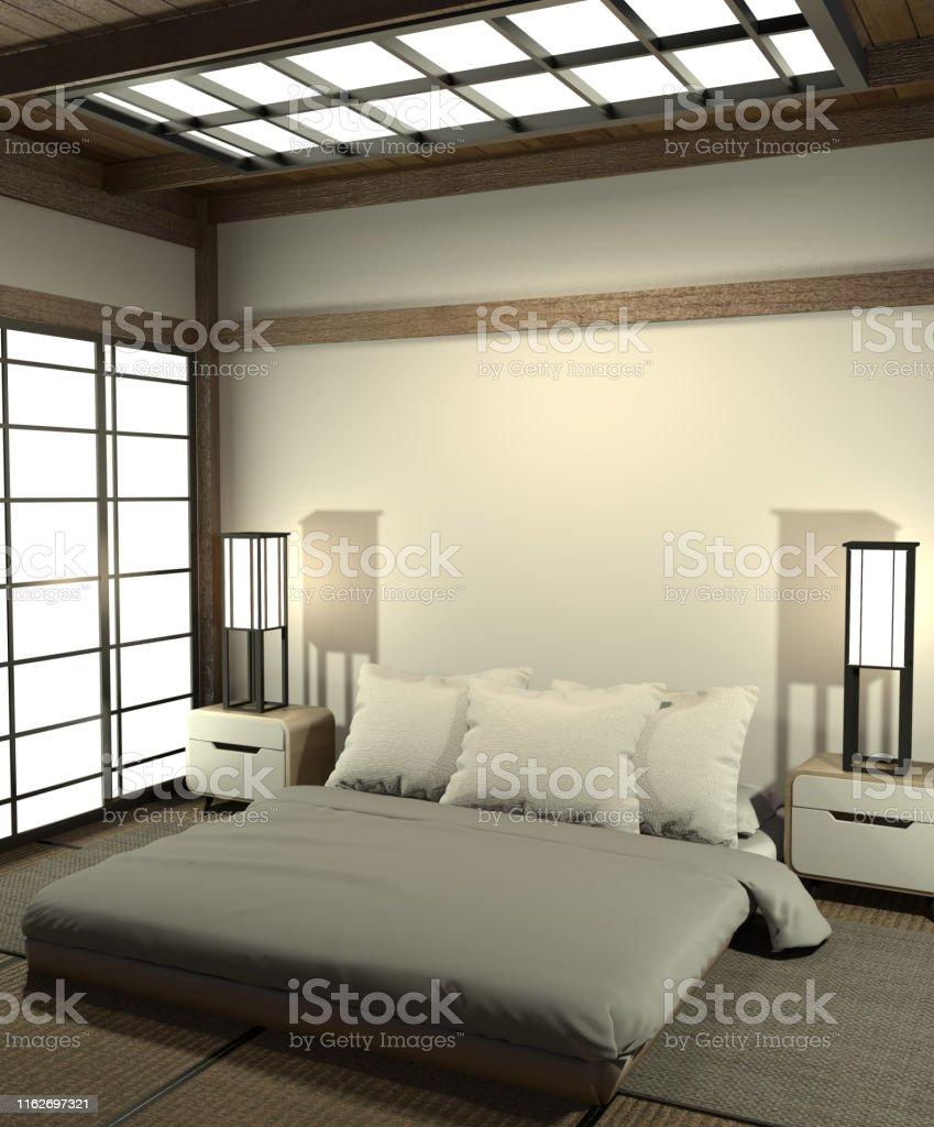 Photo libre de droit de Chambre Moderne Et Paisible Chambre De Style Zen Et  Décoration Style Japonais Style Japonais Chambre À Coucher19d Rendu banque