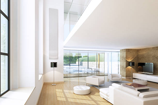 Modern Penthouse Living Room stock photo