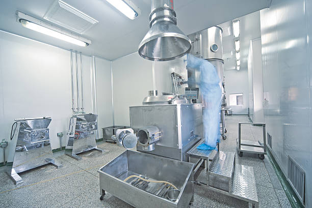 Modern pharmaceutical enterprise production line stock photo