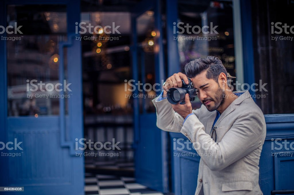 Modern photographer stock photo