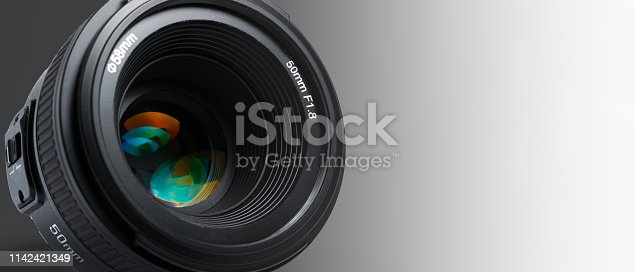 A modern photographic lens with a 50mm focal length on a white background