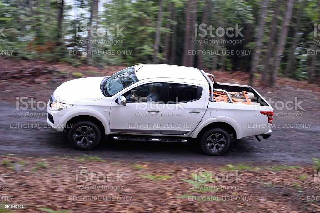 Modern pick-up in motion stock photo