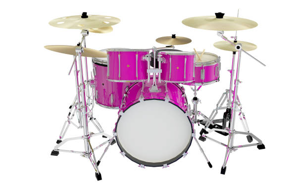 modern pink drums front view modern pink drums front view drum kit stock pictures, royalty-free photos & images