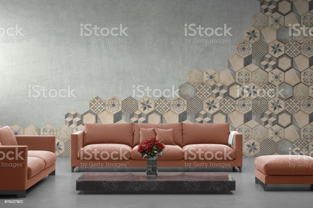 Modern Pink Pastel Sofa In Front Of Blank Gray Wall ...