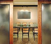 Interior of modern corporate environment: contemporary office design.