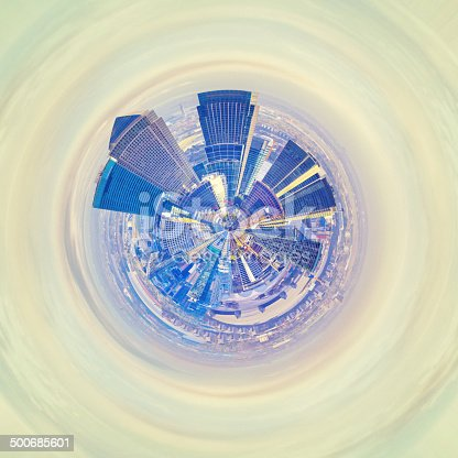The Skyscrapers of Canary Wharf in London in planet form