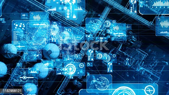 istock Modern plant and communication network concept. IoT (Internet of Things). INDUSTRY 4.0 1152958121