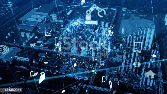 1190871157 istock photo Modern plant and communication network concept. IoT (Internet of Things). INDUSTRY 4.0 1154360041