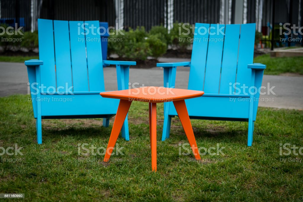 Modern Plastic Adirondak  Chairs stock photo